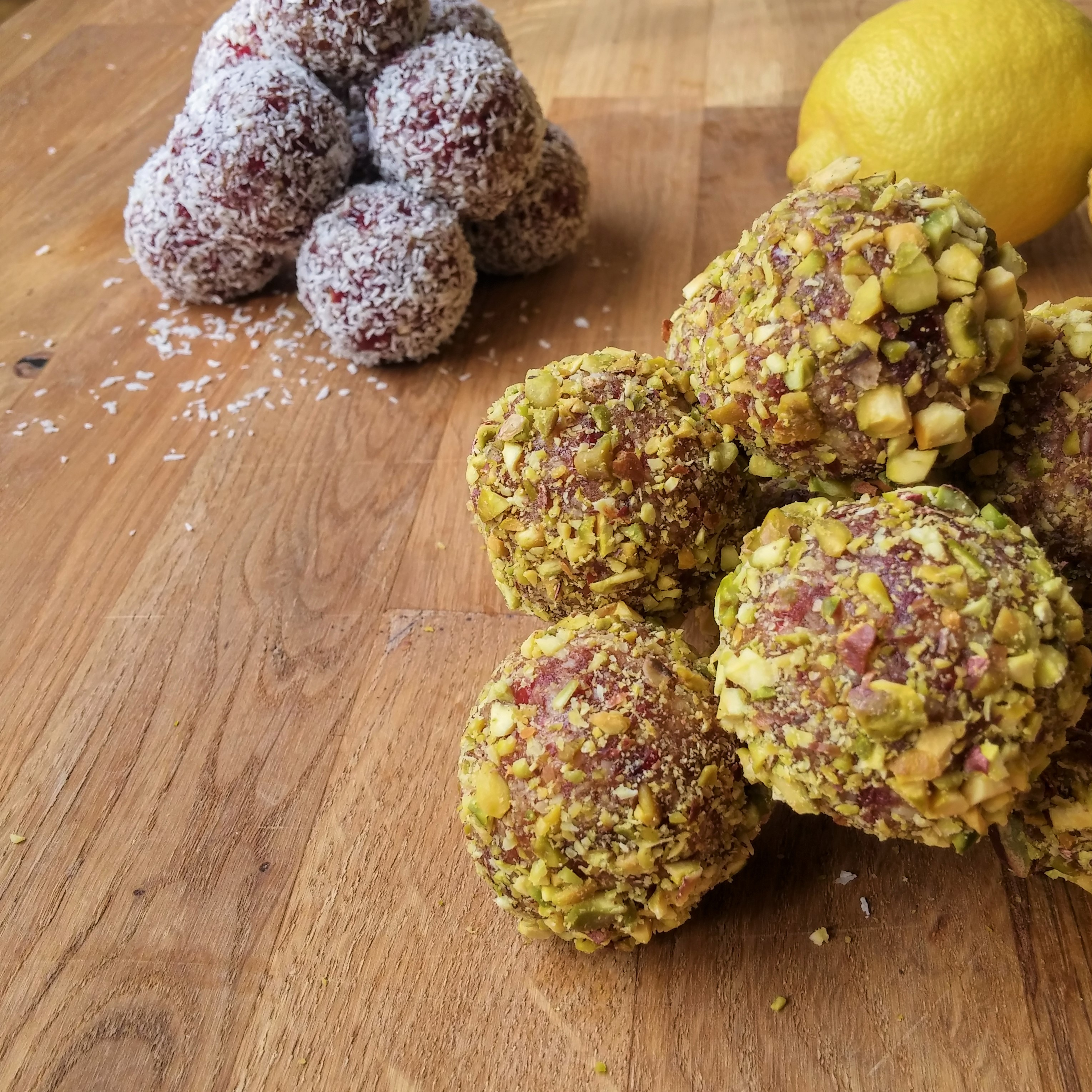 pistachio and lemon energy balls