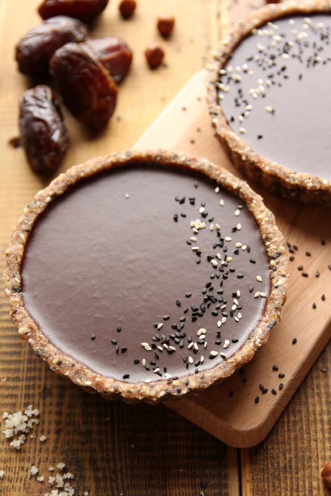 tahini infused chocolate black sesame tarts