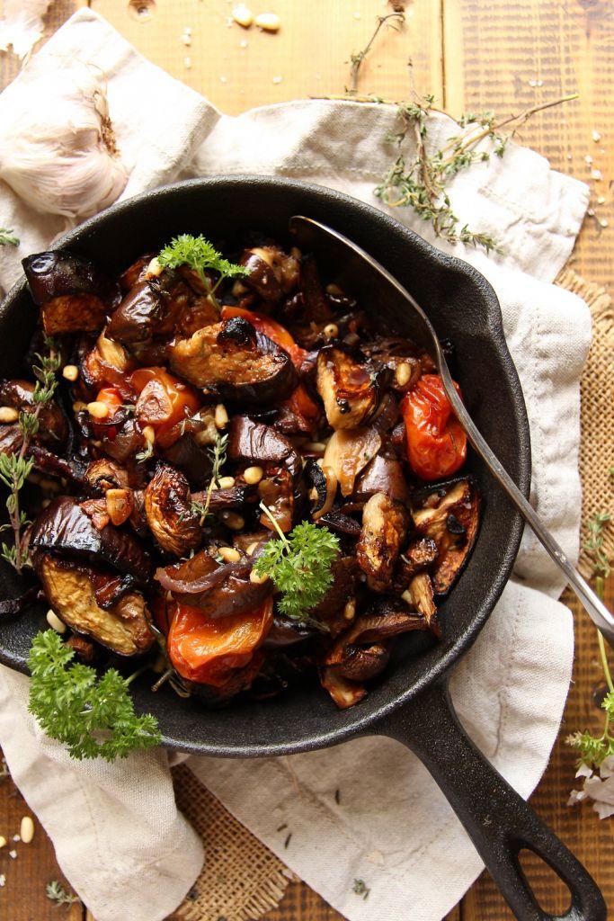 roasted eggplant mushroom salad